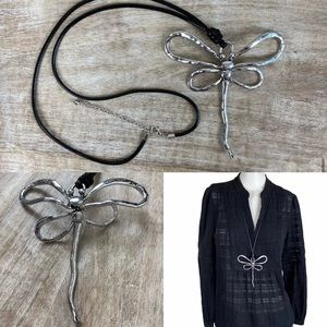 """♦️ NEW 5"""" Dragonfly Pendant Necklace Silver Tone"""